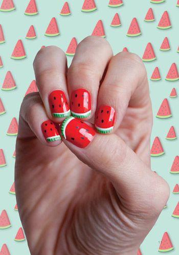 nail art semangka untuk musim panas
